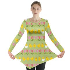 Easter   Chick And Tulips Long Sleeve Tunic