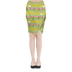 Easter - chick and tulips Midi Wrap Pencil Skirt