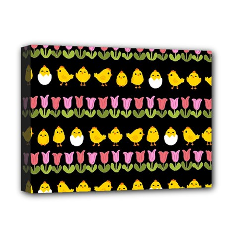Easter - chick and tulips Deluxe Canvas 16  x 12