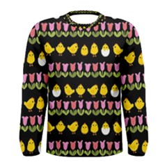 Easter - chick and tulips Men s Long Sleeve Tee