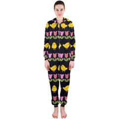 Easter - chick and tulips Hooded Jumpsuit (Ladies)