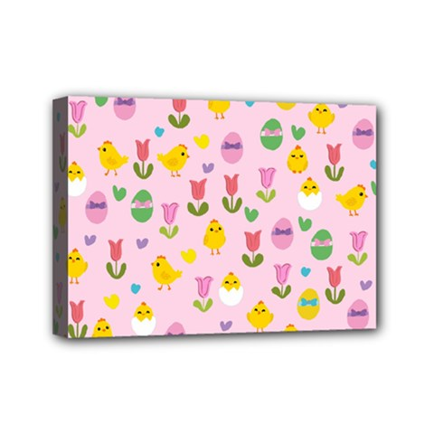 Easter - chick and tulips Mini Canvas 7  x 5