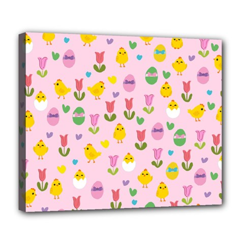 Easter - chick and tulips Deluxe Canvas 24  x 20