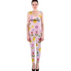 Easter - chick and tulips OnePiece Catsuit