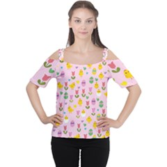 Easter - chick and tulips Women s Cutout Shoulder Tee