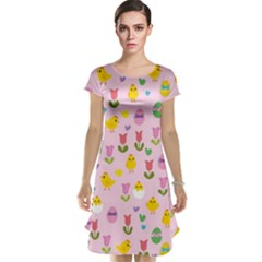 Easter - chick and tulips Cap Sleeve Nightdress