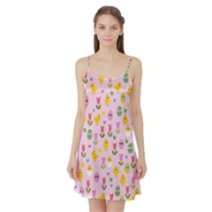 Easter - chick and tulips Satin Night Slip