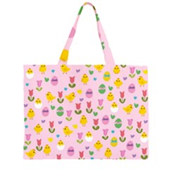 Easter - chick and tulips Large Tote Bag