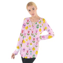 Easter - chick and tulips Women s Tie Up Tee