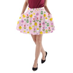 Easter - chick and tulips A-Line Pocket Skirt