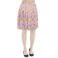 Easter - chick and tulips Pleated Skirt