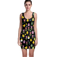 Easter - chick and tulips Sleeveless Bodycon Dress