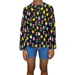 Easter - chick and tulips Kids  Long Sleeve Swimwear