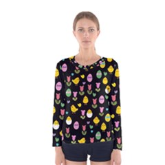 Easter - chick and tulips Women s Long Sleeve Tee