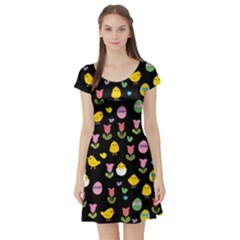 Easter - chick and tulips Short Sleeve Skater Dress
