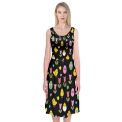 Easter - chick and tulips Midi Sleeveless Dress