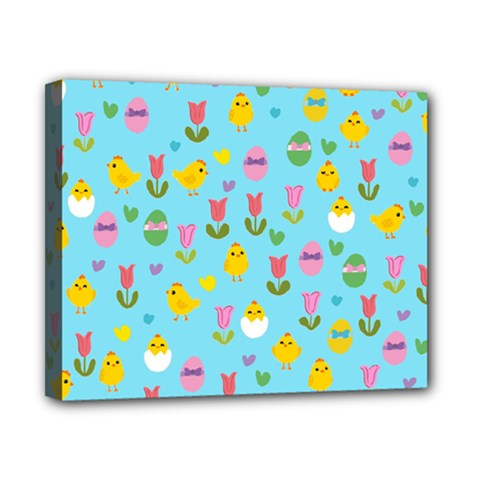 Easter - chick and tulips Canvas 10  x 8