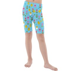 Easter - chick and tulips Kids  Mid Length Swim Shorts