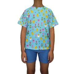 Easter - chick and tulips Kids  Short Sleeve Swimwear