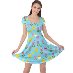 Easter - chick and tulips Cap Sleeve Dresses