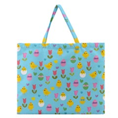 Easter - chick and tulips Zipper Large Tote Bag