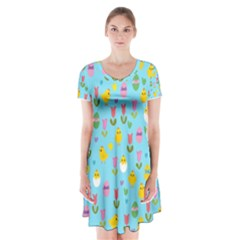 Easter - chick and tulips Short Sleeve V-neck Flare Dress