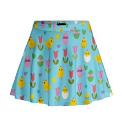 Easter - chick and tulips Mini Flare Skirt