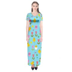 Easter - chick and tulips Short Sleeve Maxi Dress