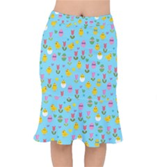 Easter   Chick And Tulips Mermaid Skirt