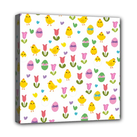 Easter - chick and tulips Mini Canvas 8  x 8