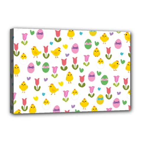 Easter - chick and tulips Canvas 18  x 12