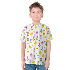 Easter   Chick And Tulips Kids  Cotton Tee