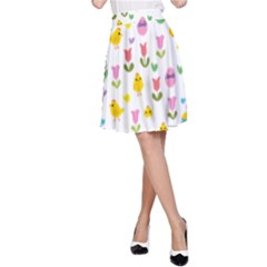 Easter - chick and tulips A-Line Skirt