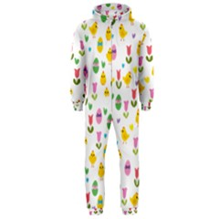 Easter - chick and tulips Hooded Jumpsuit (Men)