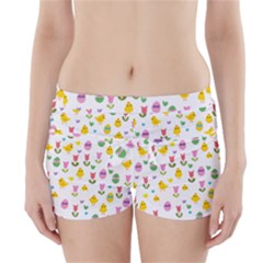 Easter - chick and tulips Boyleg Bikini Wrap Bottoms