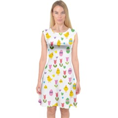 Easter - chick and tulips Capsleeve Midi Dress