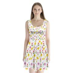 Easter - chick and tulips Split Back Mini Dress
