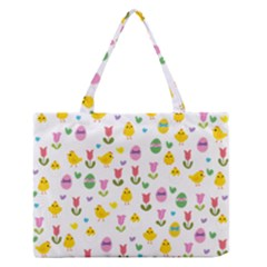 Easter - chick and tulips Medium Zipper Tote Bag