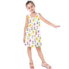 Easter - chick and tulips Kids  Sleeveless Dress