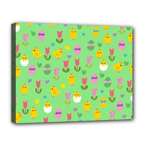 Easter - chick and tulips Canvas 14  x 11