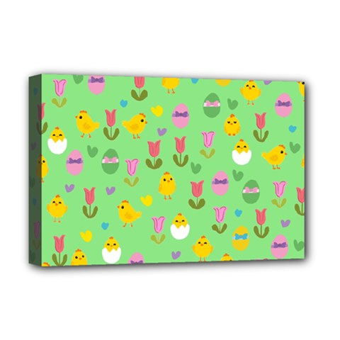 Easter - chick and tulips Deluxe Canvas 18  x 12