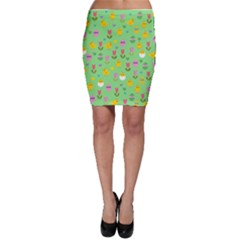 Easter - chick and tulips Bodycon Skirt