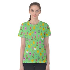 Easter - chick and tulips Women s Cotton Tee