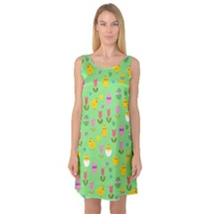 Easter - chick and tulips Sleeveless Satin Nightdress