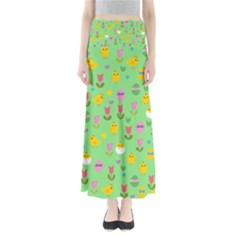 Easter - chick and tulips Maxi Skirts