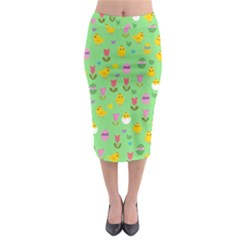 Easter - chick and tulips Midi Pencil Skirt