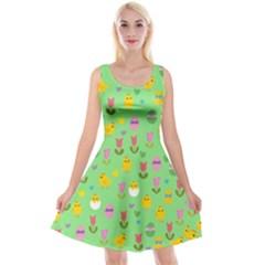 Easter - chick and tulips Reversible Velvet Sleeveless Dress