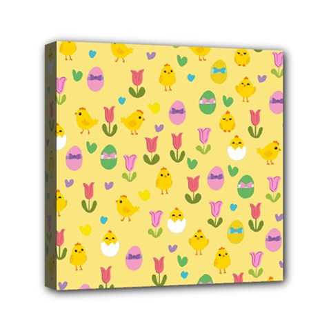 Easter - chick and tulips Mini Canvas 6  x 6