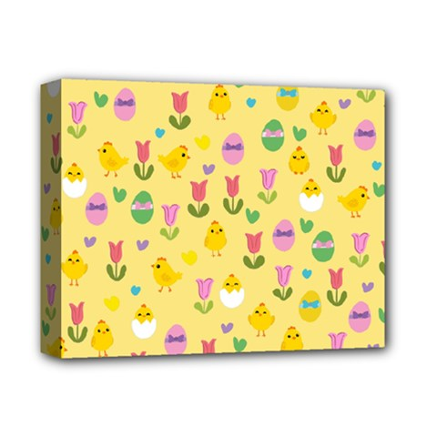 Easter - chick and tulips Deluxe Canvas 14  x 11