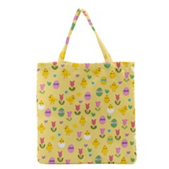 Easter - chick and tulips Grocery Tote Bag
